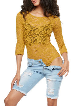 Long Sleeve Low Back Lace Bodysuit - 3307054268863