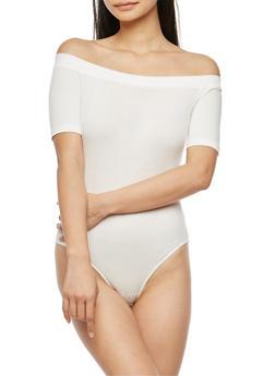 Off the Shoulder Ribbed Knit Bodysuit - OFF WHITE - 3307054269417