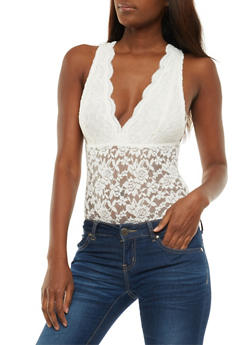 Plunging Scalloped V Neck Lace Bodysuit - 3307054269674