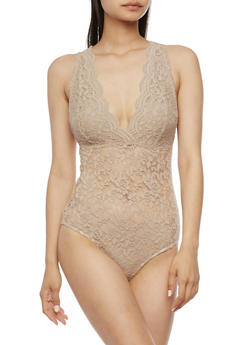 Plunging Scalloped V Neck Lace Bodysuit - 3307054269674