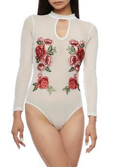 Rose Applique Mesh Bodysuit - 3307058750052