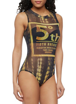 Sleeveless 5th Avenue Graphic Mesh Bodysuit - 3307058754650
