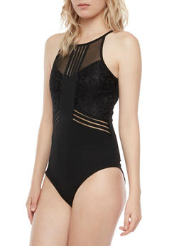 Sleeveless Bodysuit with Mesh and Lace Panels - 3307058755588
