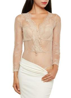 Lace Bodysuit with Faux-Wrap Front - 3307058755680
