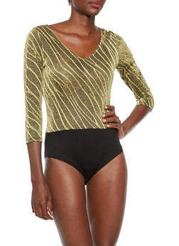 Metallic Knit Bodysuit in Zebra Print - 3307058755935