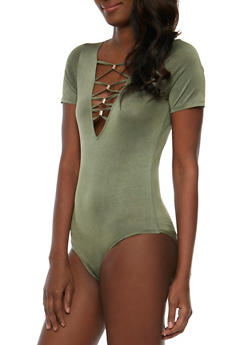 Caged V Neck Bodysuit with Metal Accents - OLIVE - 3307058758525