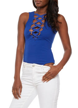 Sleeveless Lace Up Bodysuit - 3307058758559