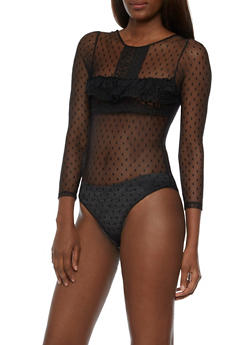 Long Sleeve Mesh Crochet Bodysuit - 3307058758616
