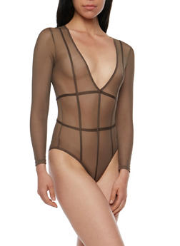Long Sleeve Caged Mesh Bodysuit - 3307058758620