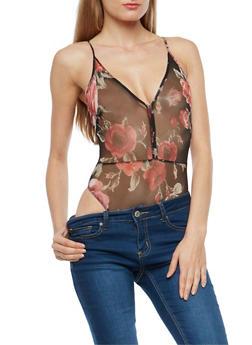 Floral Mesh Thong Bodysuit - 3307058758701