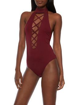 Caged Neck Open Back Bodysuit - 3307058758834