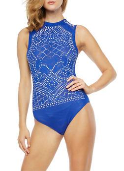 Sleeveless Studded Mesh Bodysuit - 3307058759140