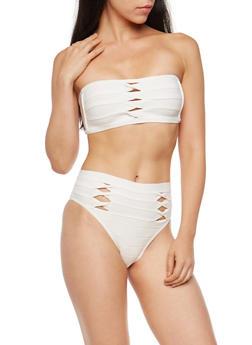 Twisted Bandage Two Piece Bodysuit - WHITE - 3307058759995