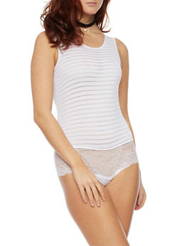 Sleeveless Shadow Stripe Bodysuit with Lace Panel - 3307062906658