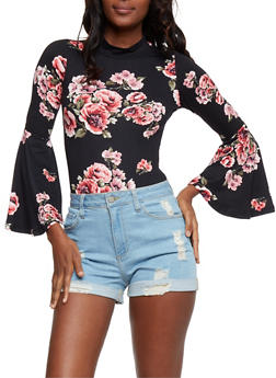 Floral Mock Neck Bodysuit with Bell Sleeves - 3307067330025