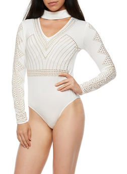 Studded Choker Neck Bodysuit - 3307067330079