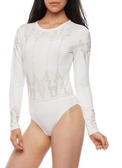 Long Sleeve Crystal Studded Bodysuit - 3307067330080