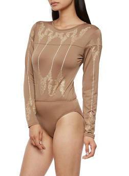 Long Sleeve Crystal Studded Bodysuit - 3307067330080