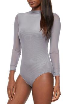 Long Sleeve Solid Mesh Bodysuit - 3307067330086