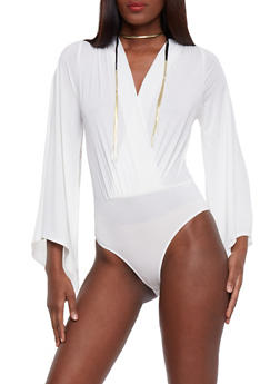 Split Bell Sleeve Bodysuit - 3307067330087
