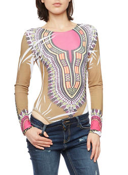 Dashiki Print Bodysuit with Long Sleeves - 3307067330161