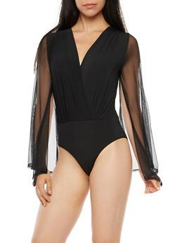 Mesh Bell Sleeve Bodysuit - 3307067330246