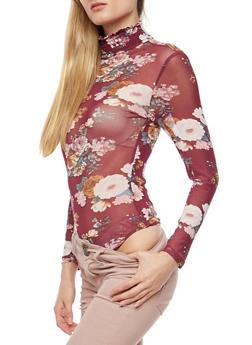 Smock Neck Floral Mesh Bodysuit - 3307067330872