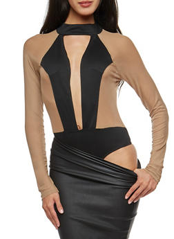 Mesh Plunge Neck Bodysuit - 3307067330880