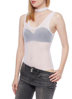 Mesh Bodysuit with Choker Neck - 3307067338019