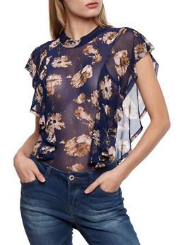 Ruffled Sleeve Floral Print Mesh Bodysuit - 3307067338514