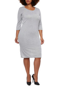 Plus Size Midi Dress with Long Sleeves - 3390038341904