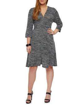 Plus Size Marled Knit Swing Dress - 3390038341905