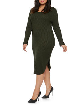 Plus Size Ribbed Midi Dress with Long Sleeves - 3390038341907