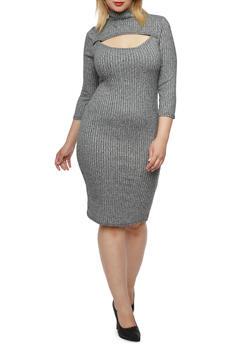 Plus Size Rib Knit Dress with Bust Cutout - 3390038341912