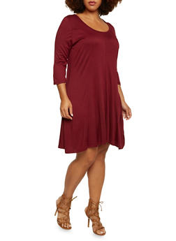 Plus Size Solid Swing Dress with Three Quarter Sleeves - 3390038341917