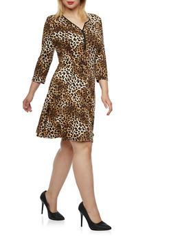 Plus Size Leopard Print Dress with Zip V Neck - 3390038341918