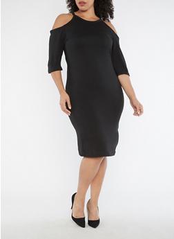 Plus Size Cold Shoulder Midi Dress - 3390038342901
