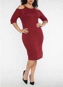 Plus Size Cold Shoulder Midi Dress - 3390038342901