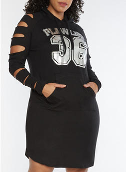 Plus Size Flawless Slashed Sleeves Hooded Dress - 3390038342902