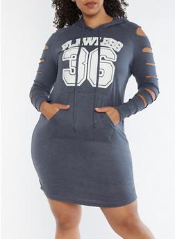 Plus Size Flawless Slashed Sleeves Hooded Dress - 3390038342902