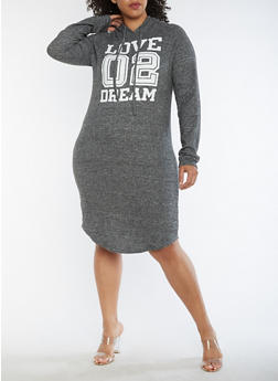 Plus Size Love Dream Graphic Hooded Dress - 3390038342903