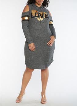 Plus Size Love Graphic Cold Shoulder Hooded Dress - 3390038342904