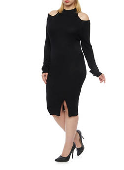 Plus Size Cold Shoulder Dress in Ribbed Knit - BLACK - 3390038346352