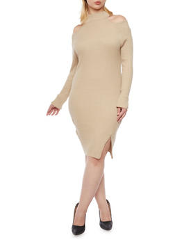 Plus Size Cold Shoulder Dress in Ribbed Knit - KHAKI - 3390038346352