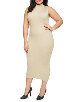 Plus Size Sleeveless Midi Dress with Mock Neck - 3390038346354