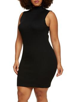 Plus Size Bodycon Dress in Rib Knit Fabric - 3390038346355