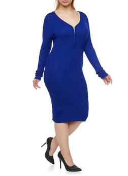 Plus Size Ribbed Dress with Zip Front - COBALT - 3390038346356