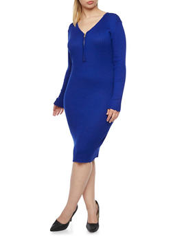 Plus Size Ribbed Dress with Zip Front - ROYAL - 3390038346356