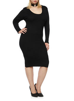 Plus Size Ribbed Dress with Crisscross Back - BLACK - 3390038346360
