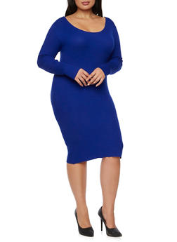 Plus Size Ribbed Dress with Crisscross Back - 3390038346360